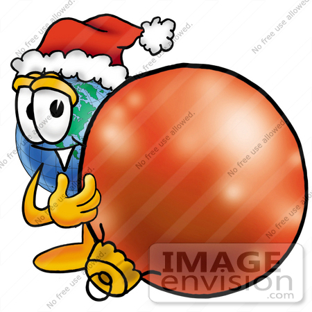 #24027 Clip Art Graphic of a World Globe Cartoon Character Wearing a Santa Hat, Standing With a Christmas Bauble by toons4biz