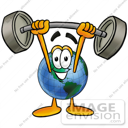 #24037 Clip Art Graphic of a World Globe Cartoon Character Holding a Heavy Barbell Above His Head by toons4biz