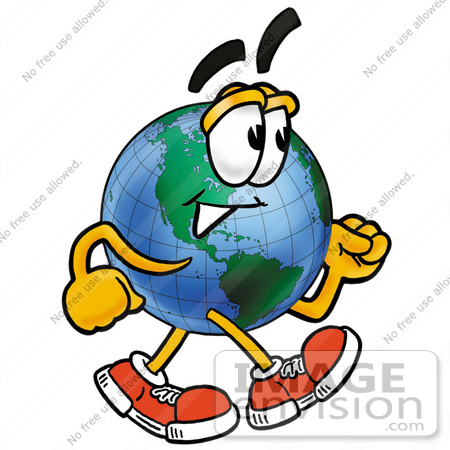 #24041 Clip Art Graphic of a World Globe Cartoon Character Walking by toons4biz