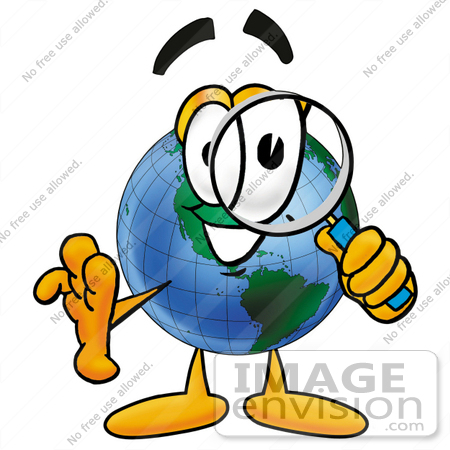 #24044 Clip Art Graphic of a World Globe Cartoon Character Looking Through a Magnifying Glass by toons4biz