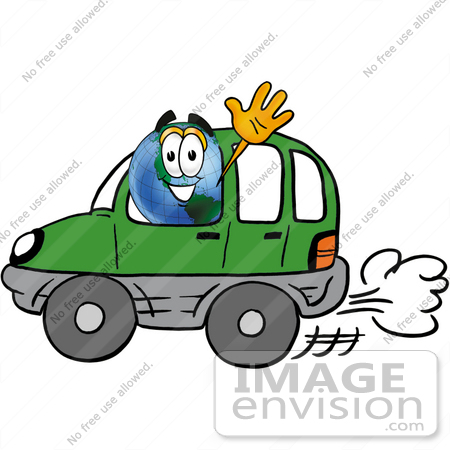 #24048 Clip Art Graphic of a World Globe Cartoon Character Driving a Green Hybrid Car and Waving by toons4biz