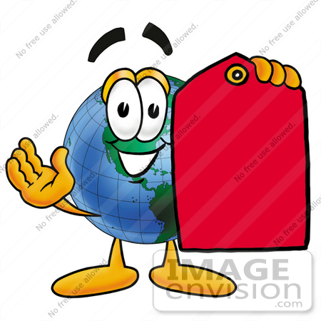 #24062 Clip Art Graphic of a World Globe Cartoon Character Holding a Red Sales Price Tag by toons4biz