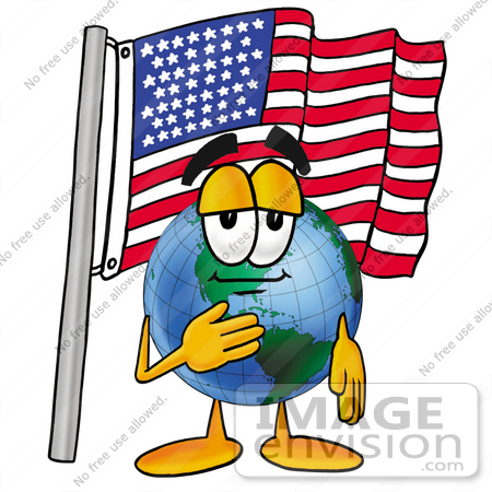#24063 Clip Art Graphic of a World Globe Cartoon Character Pledging Allegiance to an American Flag by toons4biz