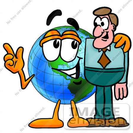 #24069 Clip Art Graphic of a World Globe Cartoon Character Talking to a Business Man by toons4biz