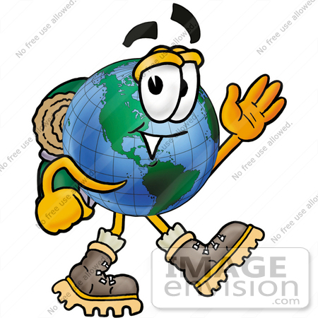 #24071 Clip Art Graphic of a World Globe Cartoon Character Hiking and Carrying a Backpack by toons4biz