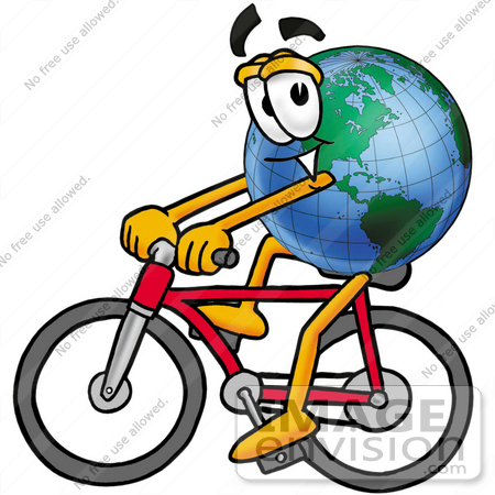 #24075 Clip Art Graphic of a World Globe Cartoon Character Riding a Bicycle by toons4biz