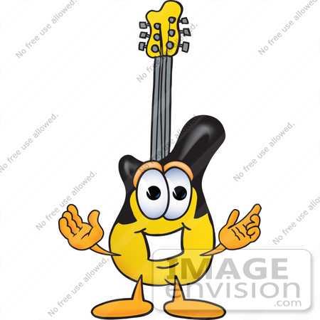 #24086 Clip Art Graphic of a Yellow Electric Guitar Cartoon Character With Welcoming Open Arms by toons4biz