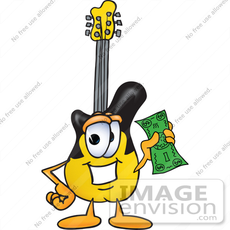 Clip art graphic of a yellow electric guitar cartoon character holding