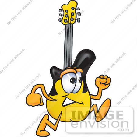 #24091 Clip Art Graphic of a Yellow Electric Guitar Cartoon Character Running by toons4biz