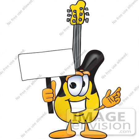 #24092 Clip Art Graphic of a Yellow Electric Guitar Cartoon Character Holding a Blank Sign by toons4biz