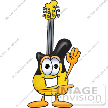 #24097 Clip Art Graphic of a Yellow Electric Guitar Cartoon Character Waving and Pointing by toons4biz