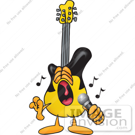 #24098 Clip Art Graphic of a Yellow Electric Guitar Cartoon Character