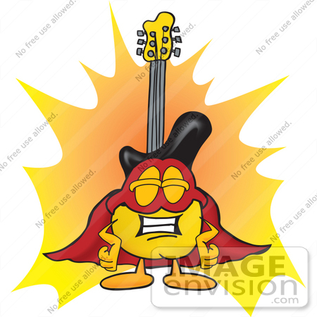 #24100 Clip Art Graphic of a Yellow Electric Guitar Cartoon Character Dressed as a Super Hero by toons4biz