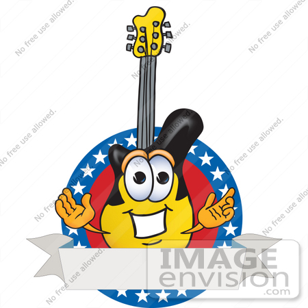 #24101 Clip Art Graphic of a Yellow Electric Guitar Cartoon Character Label With Stars by toons4biz