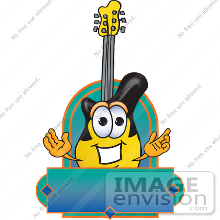 #24102 Clip Art Graphic of a Yellow Electric Guitar Cartoon Character Label by toons4biz