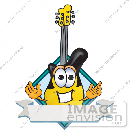 #24103 Clip Art Graphic of a Yellow Electric Guitar Cartoon Character Label by toons4biz