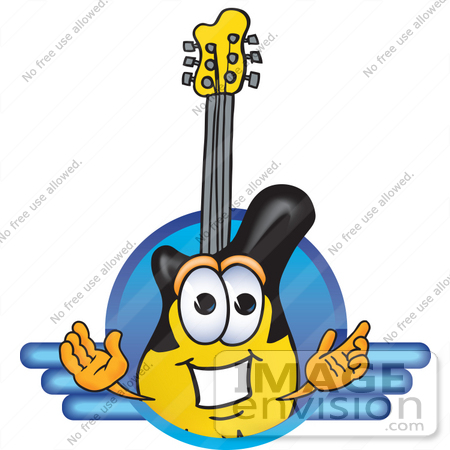#24105 Clip Art Graphic of a Yellow Electric Guitar Cartoon Character Logo by toons4biz