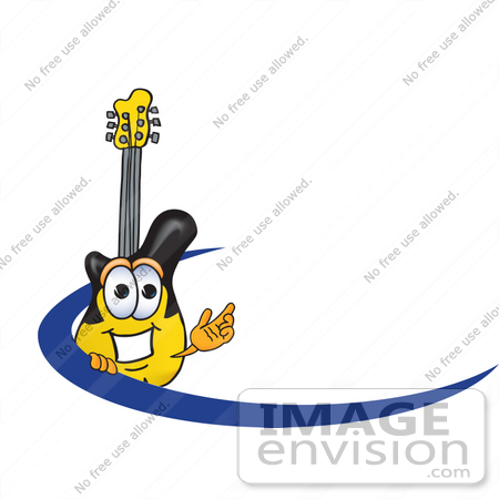 #24106 Clip Art Graphic of a Yellow Electric Guitar Cartoon Character Logo With a Blue Dash by toons4biz
