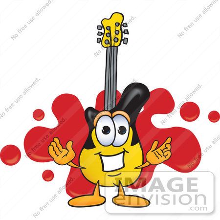 #24107 Clip Art Graphic of a Yellow Electric Guitar Cartoon Character Logo With Red Paint Splatters by toons4biz