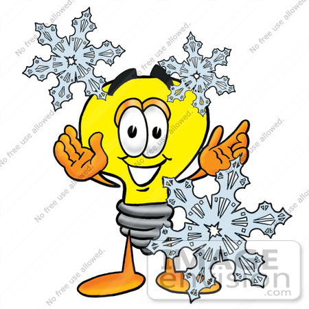 #24116 Clip Art Graphic of a Yellow Electric Lightbulb Cartoon Character With Three Snowflakes in Winter by toons4biz