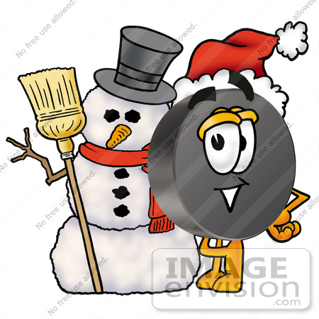 Clip Art Graphic of an Ice Hockey Puck Cartoon Character With a ...