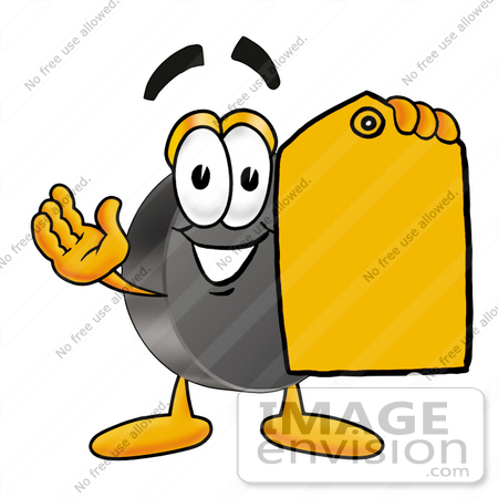 Clip Art Graphic of an Ice Hockey Puck Cartoon Character Holding a ...