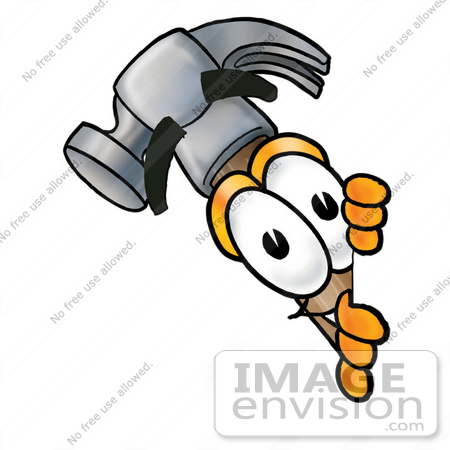 Clip Art Graphic of a Hammer Tool Cartoon Character Peeking Around ...