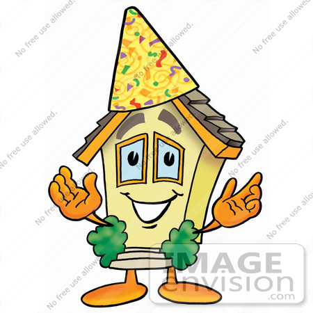 #24218 Clip Art Graphic of a Yellow Residential House Cartoon Character Wearing a Birthday Party Hat by toons4biz