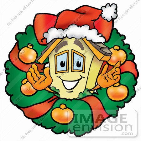 #24230 Clip Art Graphic of a Yellow Residential House Cartoon Character in the Center of a Christmas Wreath by toons4biz