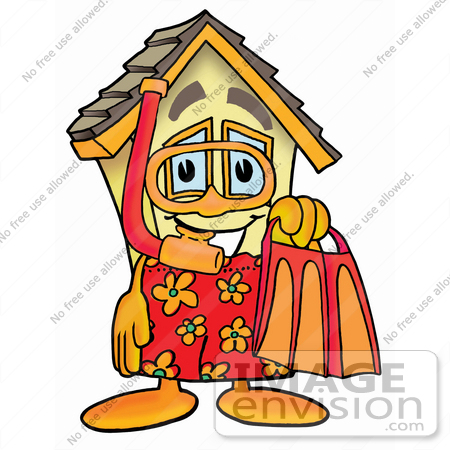 #24264 Clip Art Graphic of a Yellow Residential House Cartoon Character in Orange and Red Snorkel Gear by toons4biz