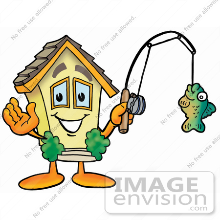 #24270 Clip Art Graphic of a Yellow Residential House Cartoon Character Holding a Fish on a Fishing Pole by toons4biz