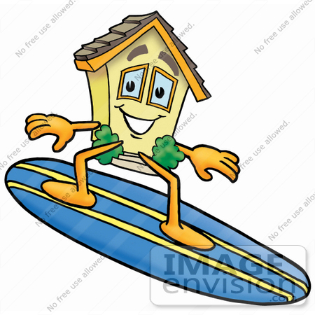 #24273 Clip Art Graphic of a Yellow Residential House Cartoon Character Surfing on a Blue and Yellow Surfboard by toons4biz