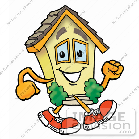 #24274 Clip Art Graphic of a Yellow Residential House Cartoon Character Walking by toons4biz