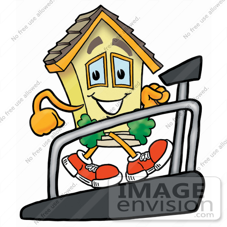 #24275 Clip Art Graphic of a Yellow Residential House Cartoon Character Walking on a Treadmill in a Fitness Gym by toons4biz