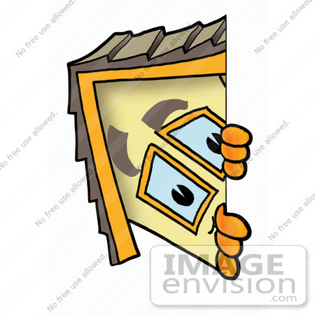 #24277 Clip Art Graphic of a Yellow Residential House Cartoon Character Peeking Around a Corner by toons4biz