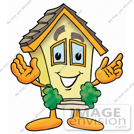 #24278 Clip Art Graphic of a Yellow Residential House Cartoon Character With Welcoming Open Arms by toons4biz