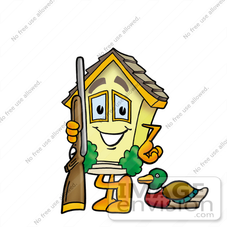 #24282 Clip Art Graphic of a Yellow Residential House Cartoon Character Duck Hunting, Standing With a Rifle and Duck by toons4biz