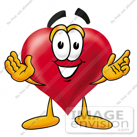 #24307 Clip Art Graphic of a Red Love Heart Cartoon Character With Welcoming Open Arms by toons4biz