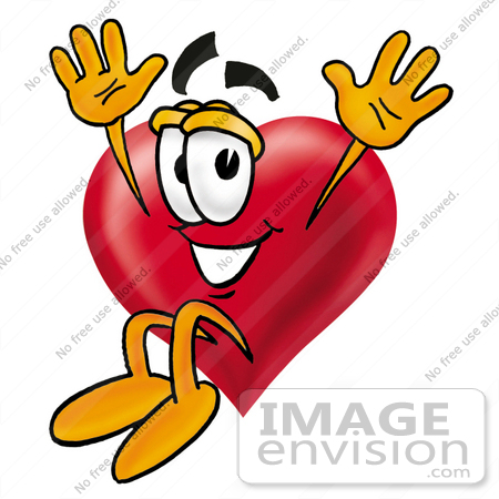 #24309 Clip Art Graphic of a Red Love Heart Cartoon Character Jumping by toons4biz