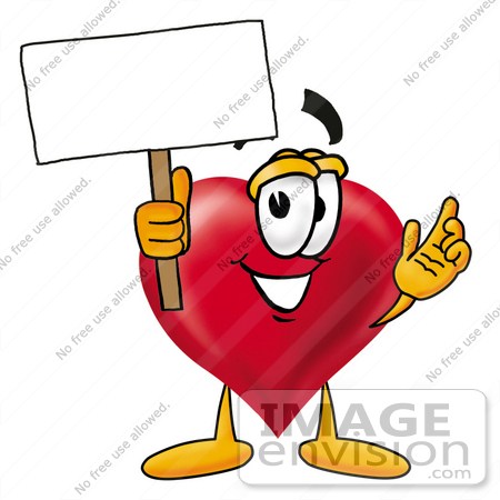 #24313 Clip Art Graphic of a Red Love Heart Cartoon Character Holding a Blank Sign by toons4biz