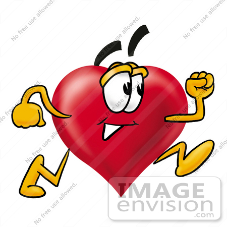 #24320 Clip Art Graphic of a Red Love Heart Cartoon Character Running by toons4biz