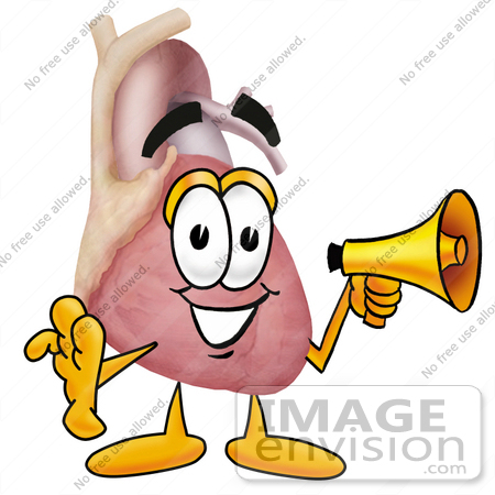 #24346 Clip Art Graphic of a Human Heart Cartoon Character Holding a Megaphone by toons4biz