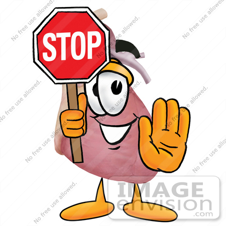 #24351 Clip Art Graphic of a Human Heart Cartoon Character Holding a Stop Sign by toons4biz