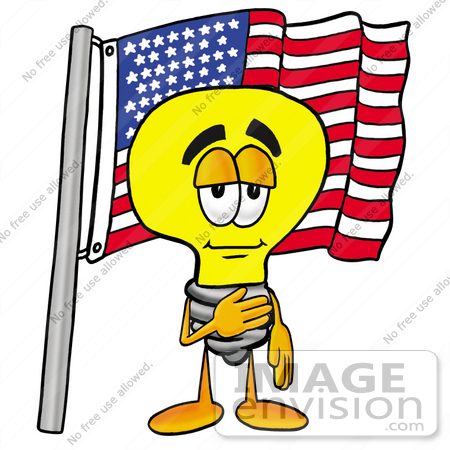 #24366 Clip Art Graphic of a Yellow Electric Lightbulb Cartoon Character Pledging Allegiance to an American Flag by toons4biz