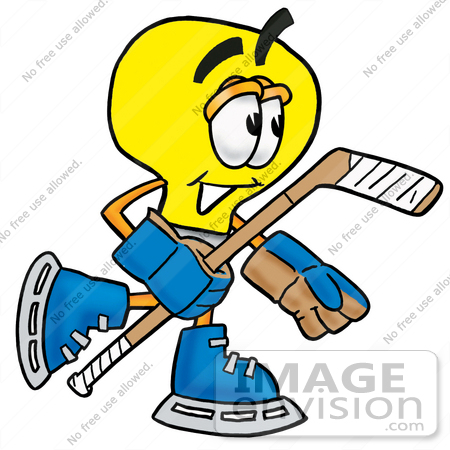 #24372 Clip Art Graphic of a Yellow Electric Lightbulb Cartoon Character Playing Ice Hockey by toons4biz