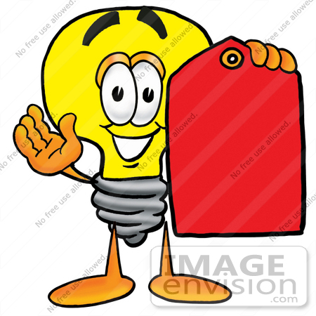 24382 Clip Art Graphic Of A Yellow Electric Lightbulb Cartoon Character Holding Red Sales