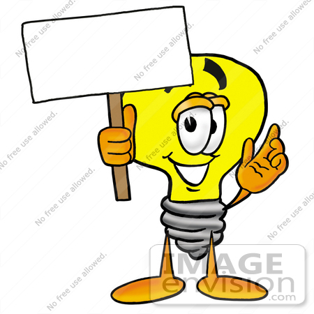 24395 Clip Art Graphic Of A Yellow Electric Lightbulb Cartoon Character Holding Blank Sign