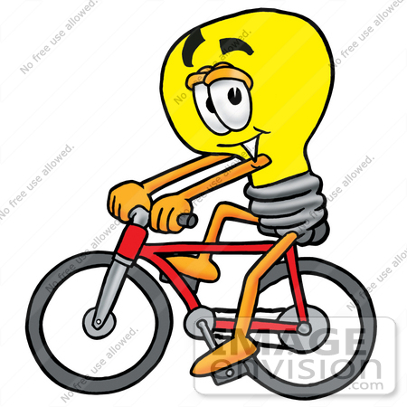 #24402 Clip Art Graphic of a Yellow Electric Lightbulb Cartoon Character Riding a Bicycle by toons4biz