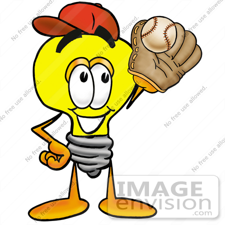 #24404 Clip Art Graphic of a Yellow Electric Lightbulb Cartoon Character Catching a Baseball With a Glove by toons4biz