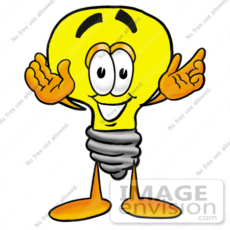 #24407 Clip Art Graphic of a Yellow Electric Lightbulb Cartoon Character With Welcoming Open Arms by toons4biz